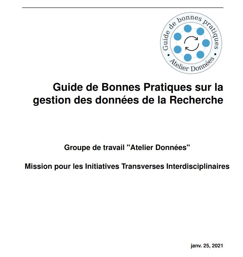 Publication du « Guide de bonnes pratiques sur la gestion des données de la Recherche »