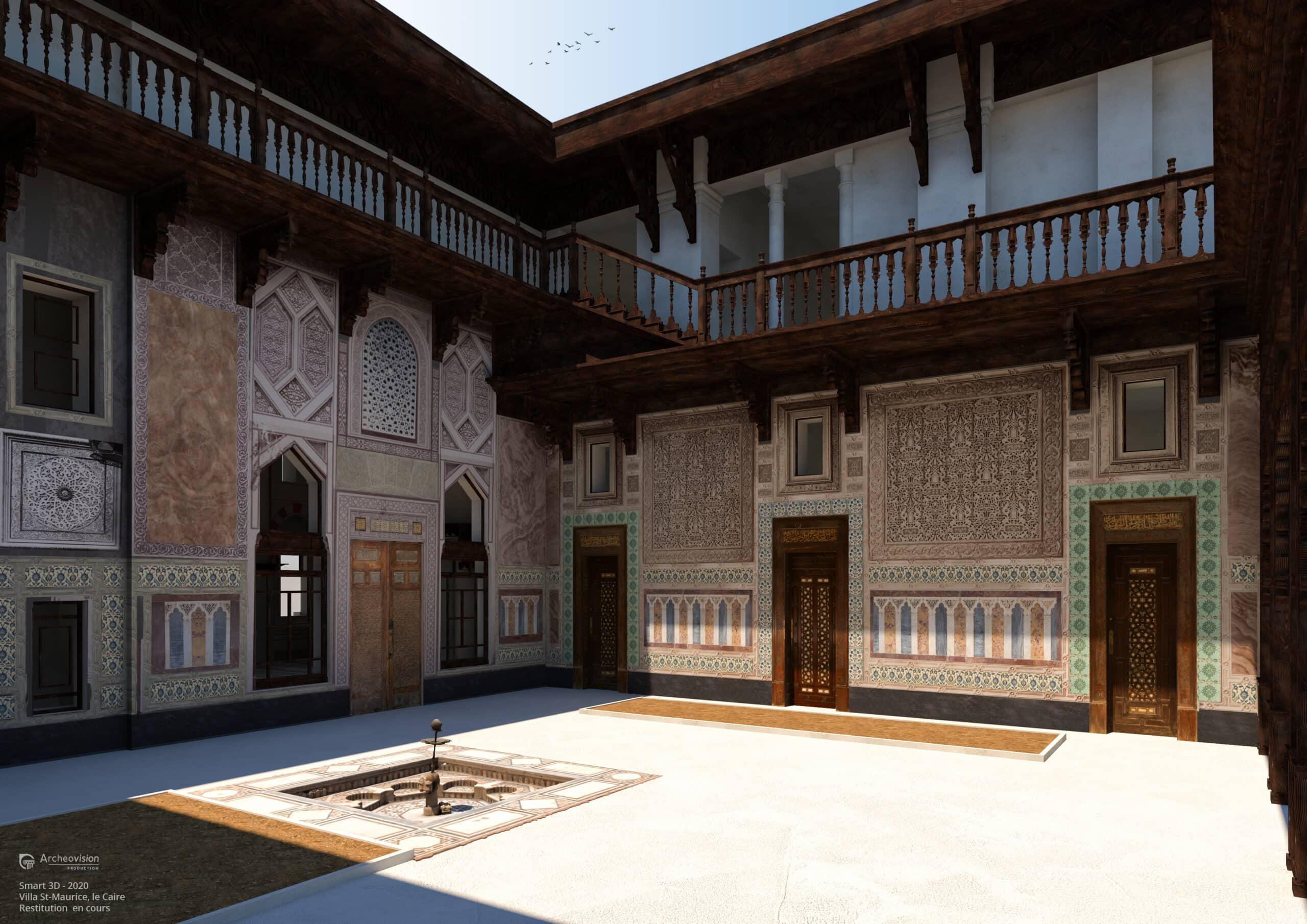 : Reconstitution 3D de la cour intérieure de l'habitation Saint-Maurice